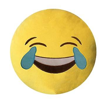 Healthy Clubs Sonreír Emoji Emoticon Cojín Decoración Sofá Juguete de Peluche (Sonrisa de Gafas de