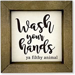 MayAvenue Funny Country Art Decor Sign, Wash Your Hands Ya Filthy Animal Bathroom Rustic Home Decor, Farmhouse Modern Style Free Standing Wood Solid Home Decorations, 8x8 Inch