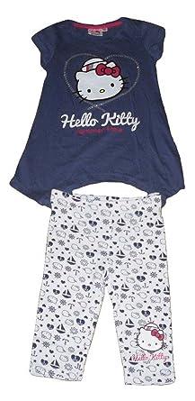ef1cedcd7 Girls 2 Piece Set T-Shirt & Leggings Hello Kitty 3-10 Years Old Navy Or  White: Amazon.co.uk: Clothing