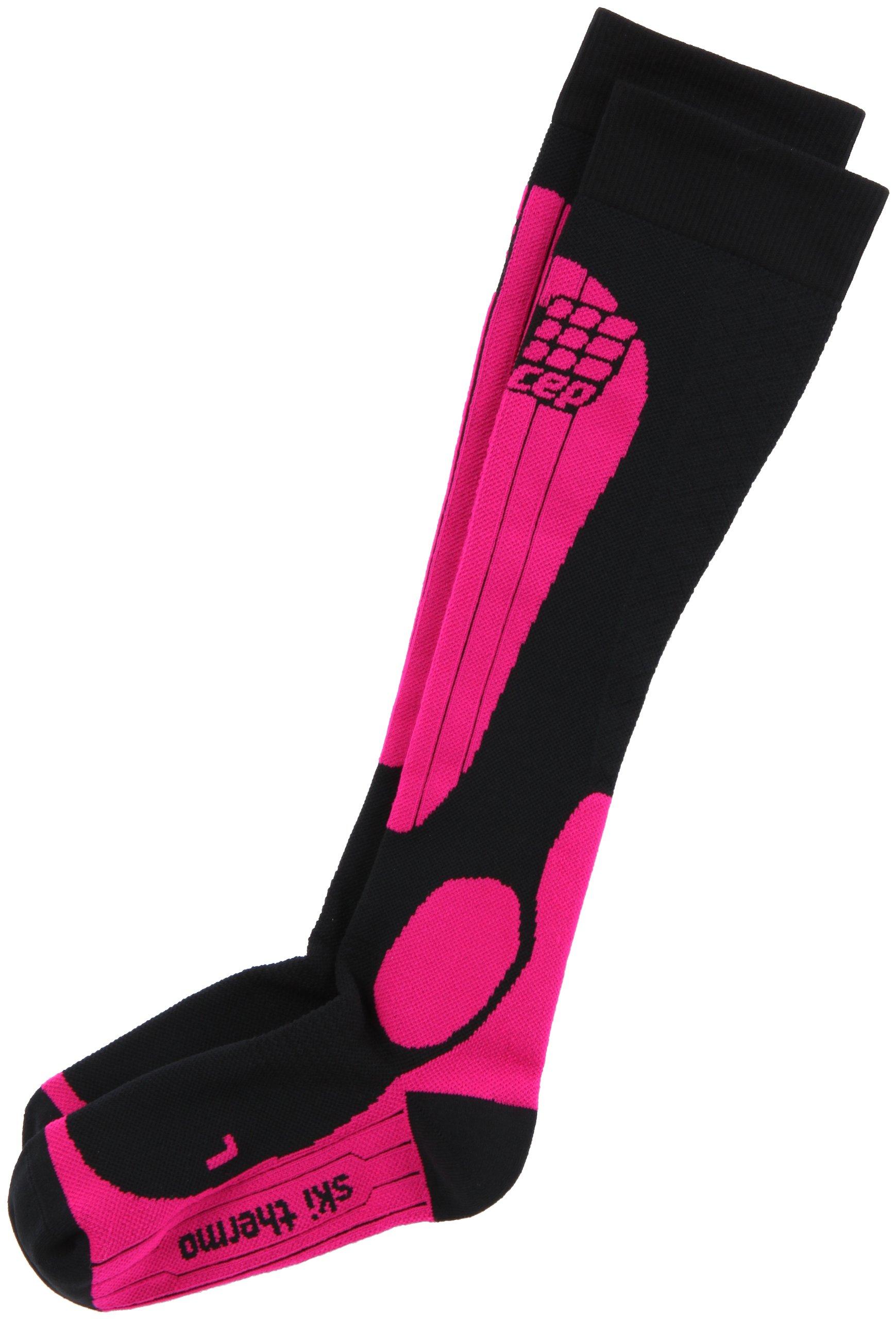 CEP Women's Progressive+ Thermo Ski Socks, Size III (Calf 12.5-15-Inch), Black/Pink
