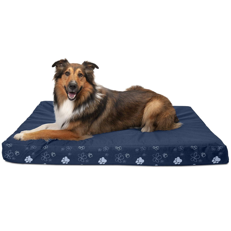 Furhaven Pet BedDeluxe Memory Foam Polyar indoor /Outdoor Garden Mattress Pet Bed for Dogs -, Lapis Blue, Jumbo