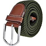 Ayliss Men's Elastic Fabric Woven Stretch Belt Genuine Leather Inlay,Many Colors