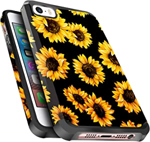 iPhone 5S/5 Case, iPhone SE 2016 Case, Miss Arts Slim Anti-Scratch with [Drop Protection] Cute Girls Women Heavy Duty Dual Layer Protective Cover Case for Apple iPhone 5S/5 -Sunflower