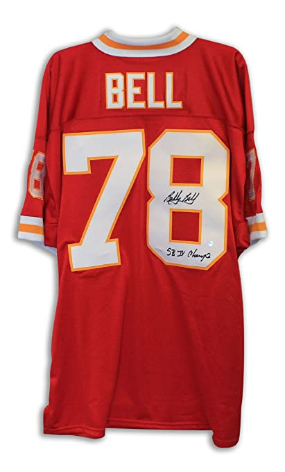 Bobby Bell Kansas City Chiefs Autgraphed Red Throwback Jersey Inscribed   quot SB IV Champs quot  e287a4f4f