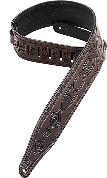 Black Levy/'s PM28-2B-BLK Genuine Leather Guitar Strap With Fake Bullets