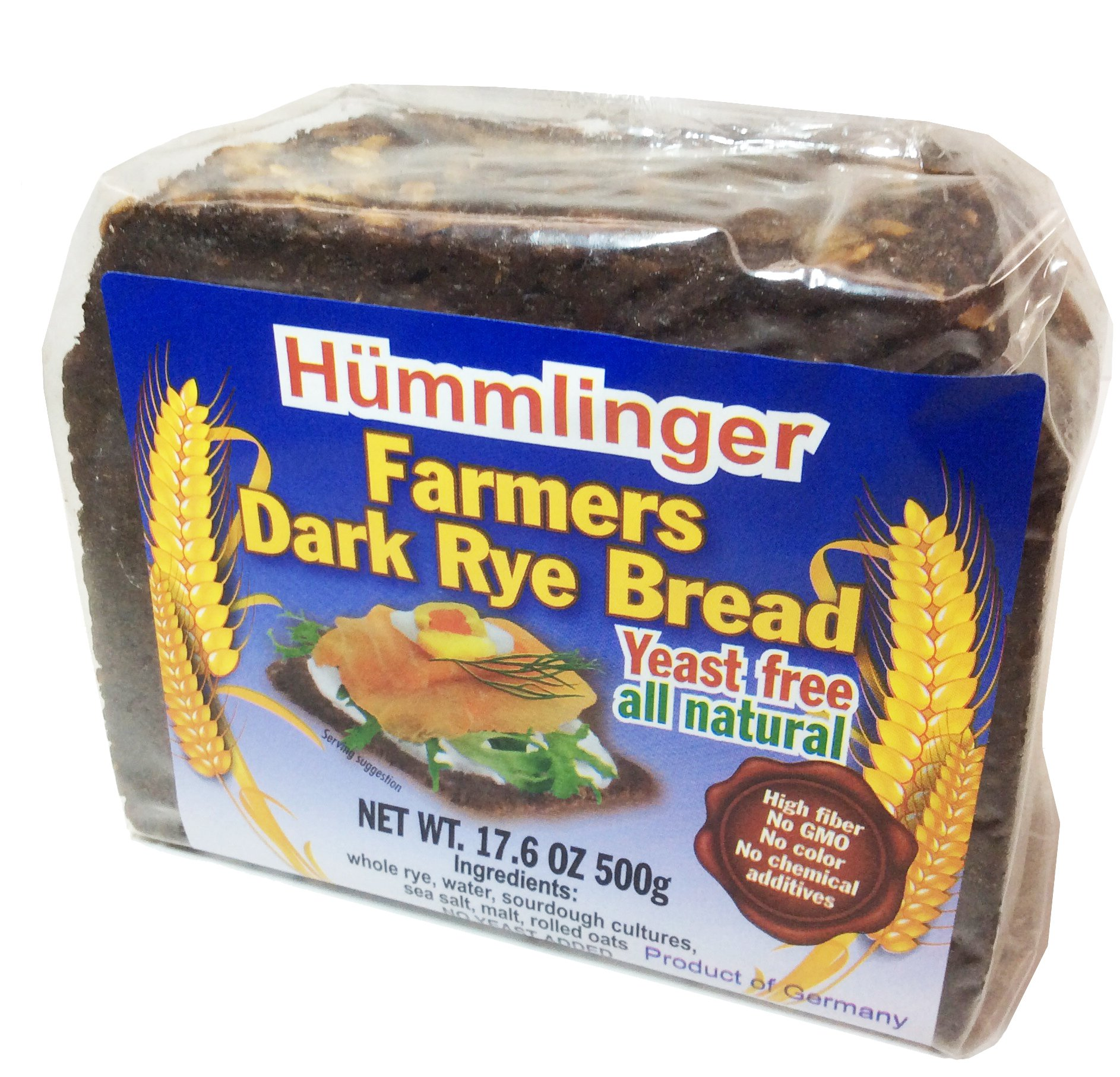 Hummlinger Yeast Free Bread, Farmers Dark Rye,GMO FREE 17.6 oz (6 packs)