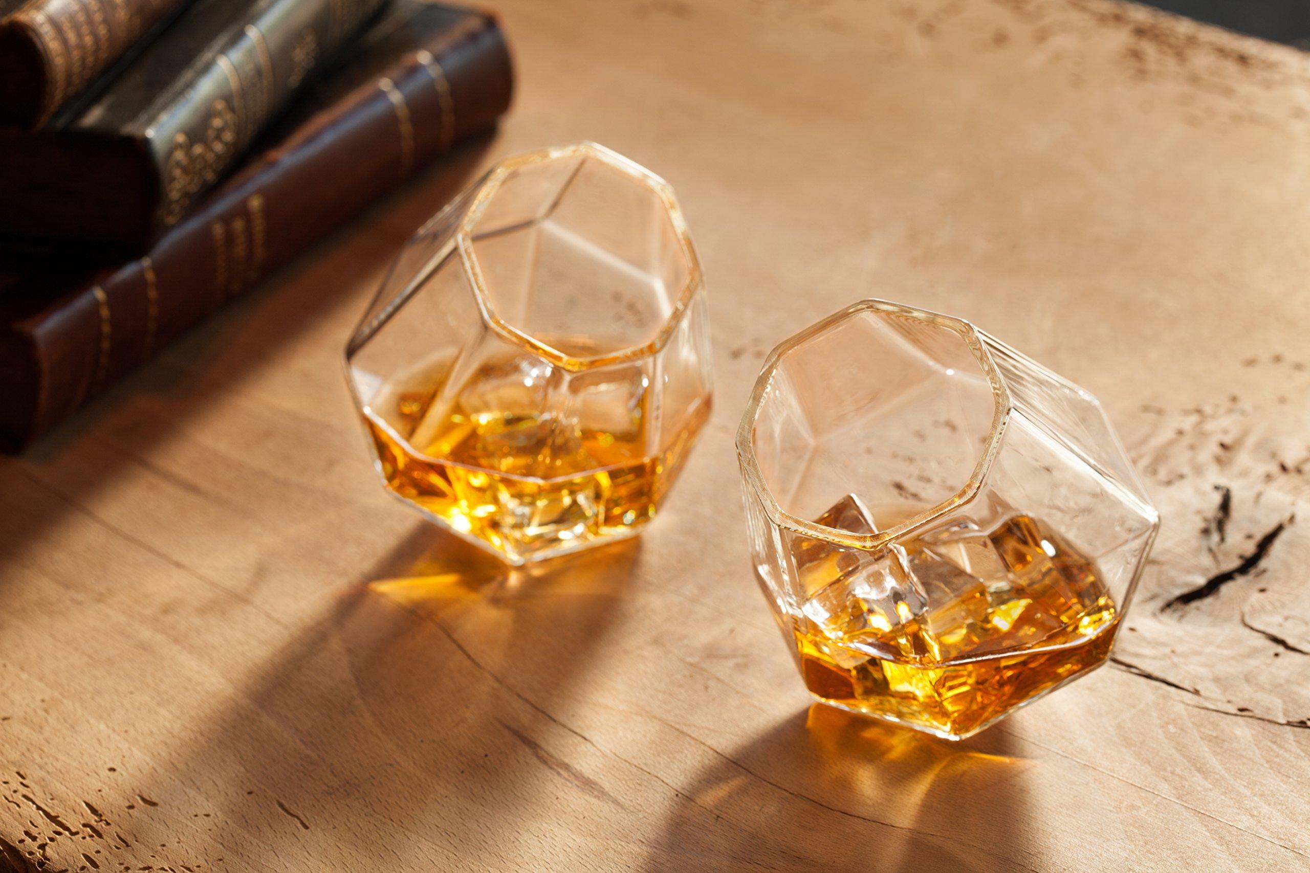Dragon Glassware Diamond Whiskey Glasses, Premium Designer Tumblers for Spirits and Wine, 10-Ounces, Gift Boxed - Set of 4 by Dragon Glassware (Image #2)