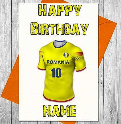 akgifts personalizado Rumanía fútbol tarjeta de cumpleaños – cualquier nombre y numerados camiseta (7 –