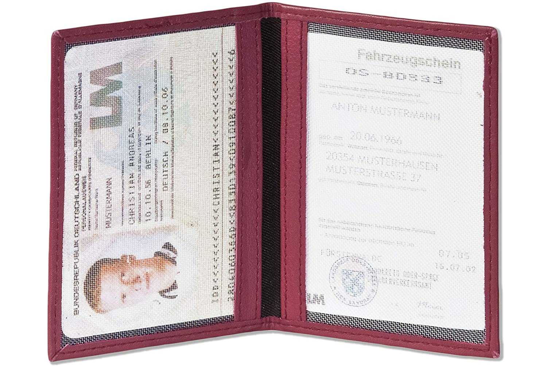 Lila Rimbaldi/® Lederetui f/ür den Alten Personalausweis und den KFZ-Schein aus weichem naturbelassenem Rindsleder in Weinrot