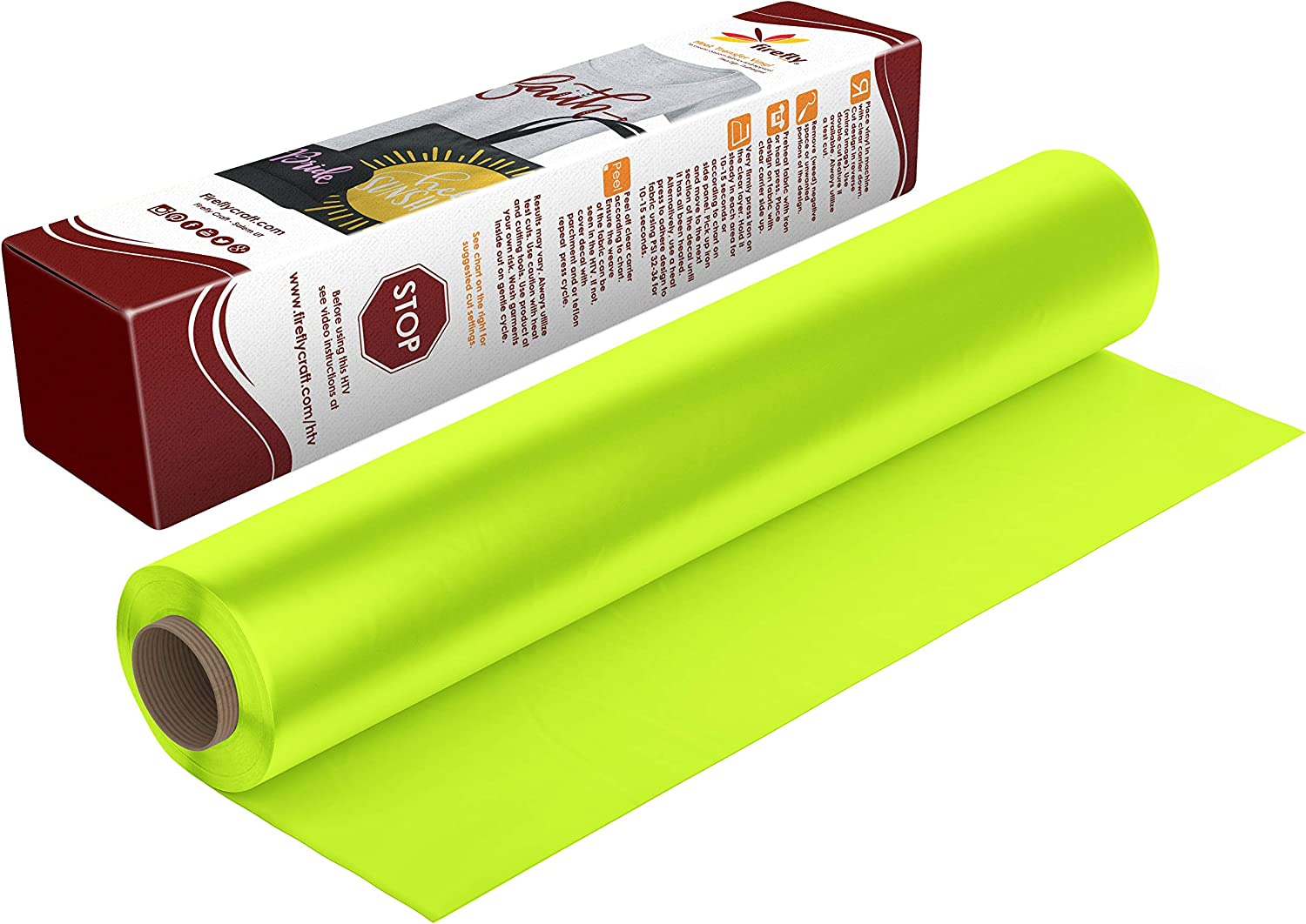 Firefly Craft Neon Yellow Heat Transfer Vinyl | Fluorescent Yellow HTV Vinyl | Bright Yellow Iron On Vinyl for Cricut and Silhouette | 5 Feet by 12.25 Roll | Heat Press Vinyl for Shirts: Arts, Crafts & Sewing