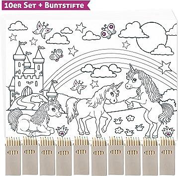 10 Anniversaire Licorne Sets De Table A Colorier Avec 10 Crayon De