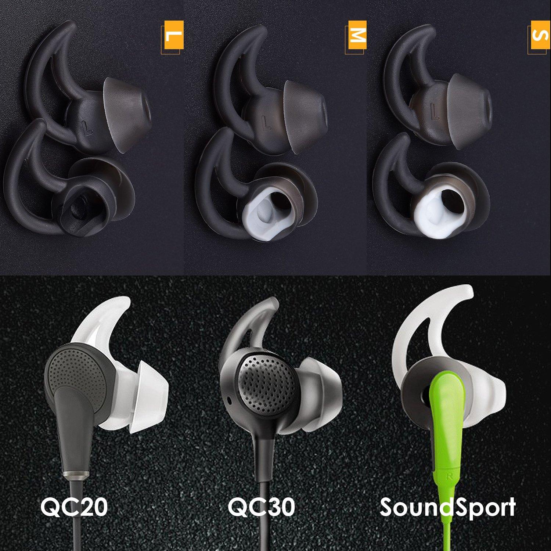 TEEMADE 12 Piezas para Auriculares Bose Puntas de Recambio de Silicona Fundas para Bose QC30 QuietControl 30 QC20 SIE2 IE3 Soundsport Auriculares inal/ámbricos