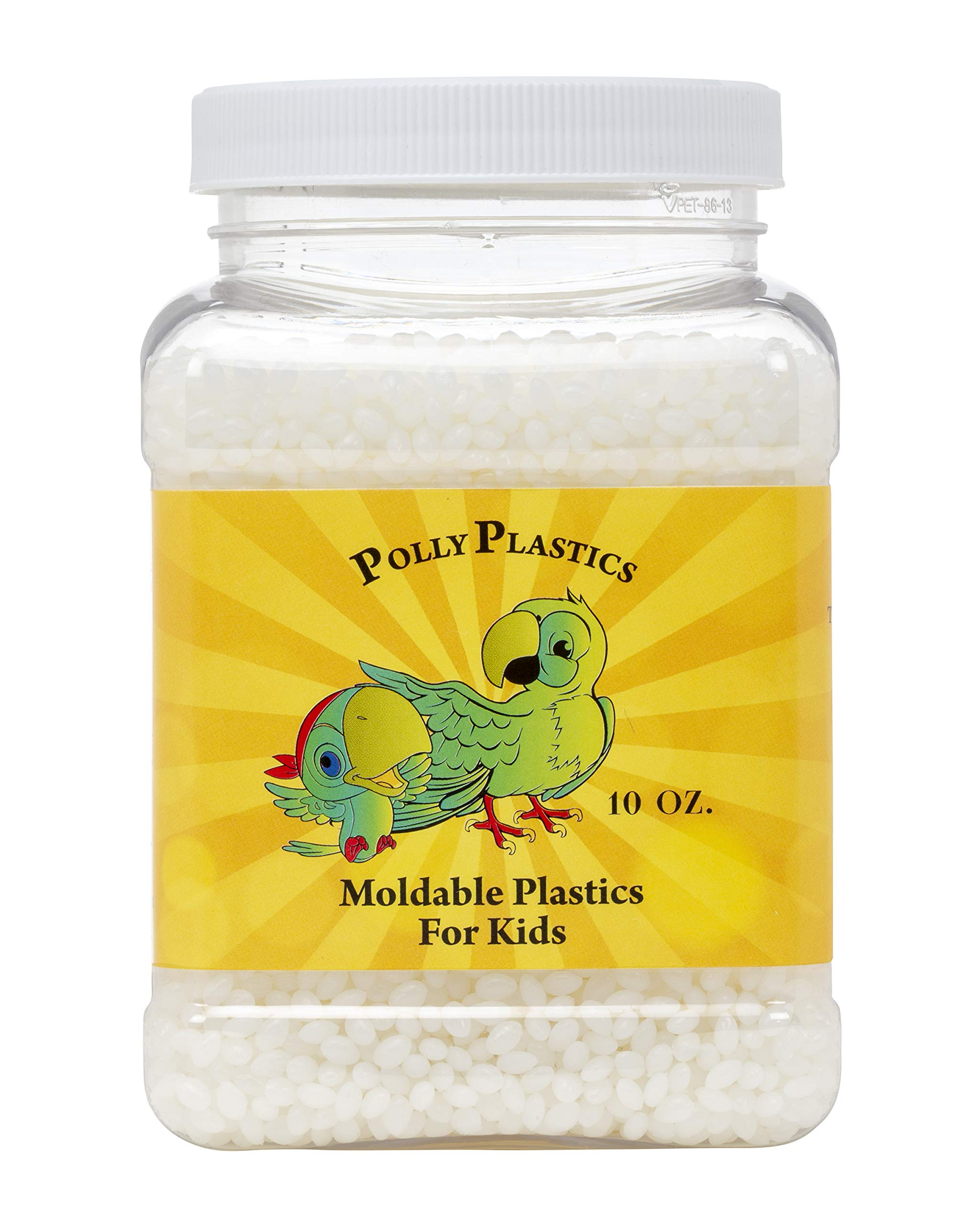 Kids Moldable Plastic Pellets by Polly Plastics | Lower Melt Temperature Safe for Children | Non-Toxic Thermoplastic Molding Beads (10 oz)