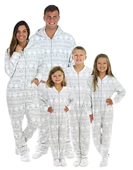 67a71833b781 SleepytimePjs Family Matching Grey Snowflake Onesie PJs Footed Pajamas  Kid s Grey Snowflake – (STM17-