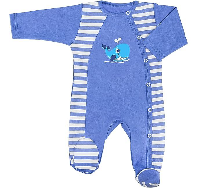 Be Mammy Pelele Pijama Bebé Niño BEEK0013 (Aciano/Blanco Rayas, 62)