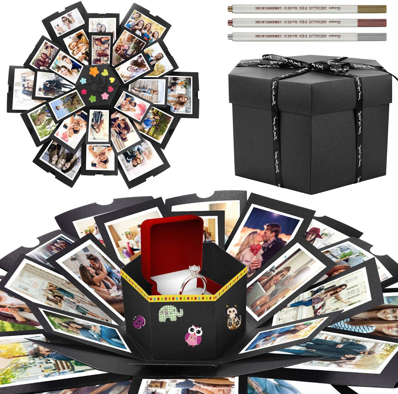 WisFox Explosion Box, Creativo DIY Hecho a Mano Sorpresa Explosión Caja de Regalo Amor Memoria, Álbum de Fotos de Scrapbooking Caja para Cumpleaños Día de San Valentín Aniversario Navidad(3 Pluma)