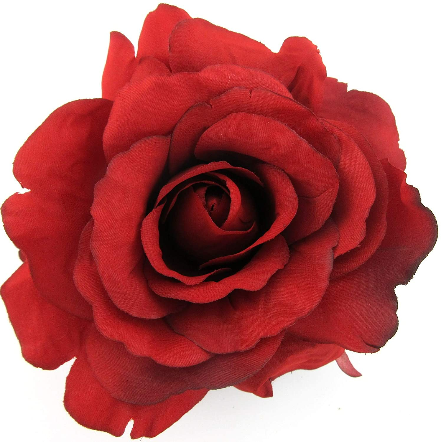 5 Inch Red Rose Silk Flower Hair Comb