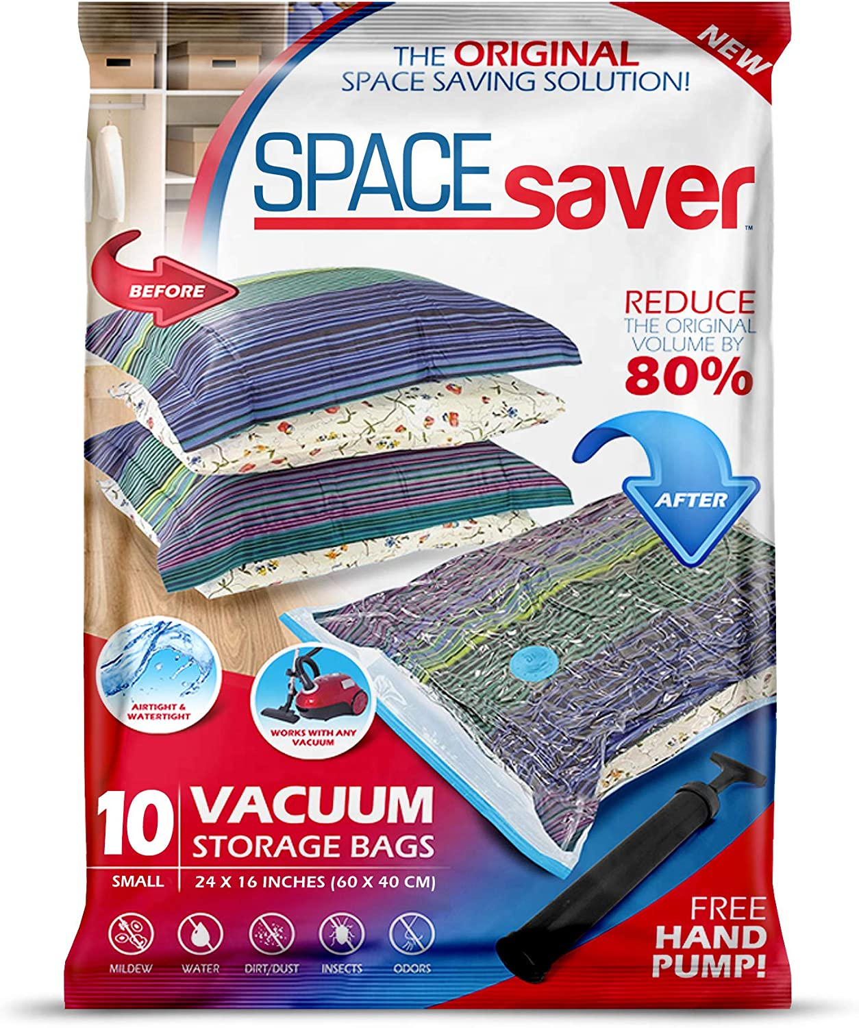 Spacesaver Premium Vacuum Storage Bags. 80% More Storage! Hand-Pump for Travel! Double-Zip Seal and Triple Seal Turbo-Valve for Max Space Saving! (Small 10 Pack)