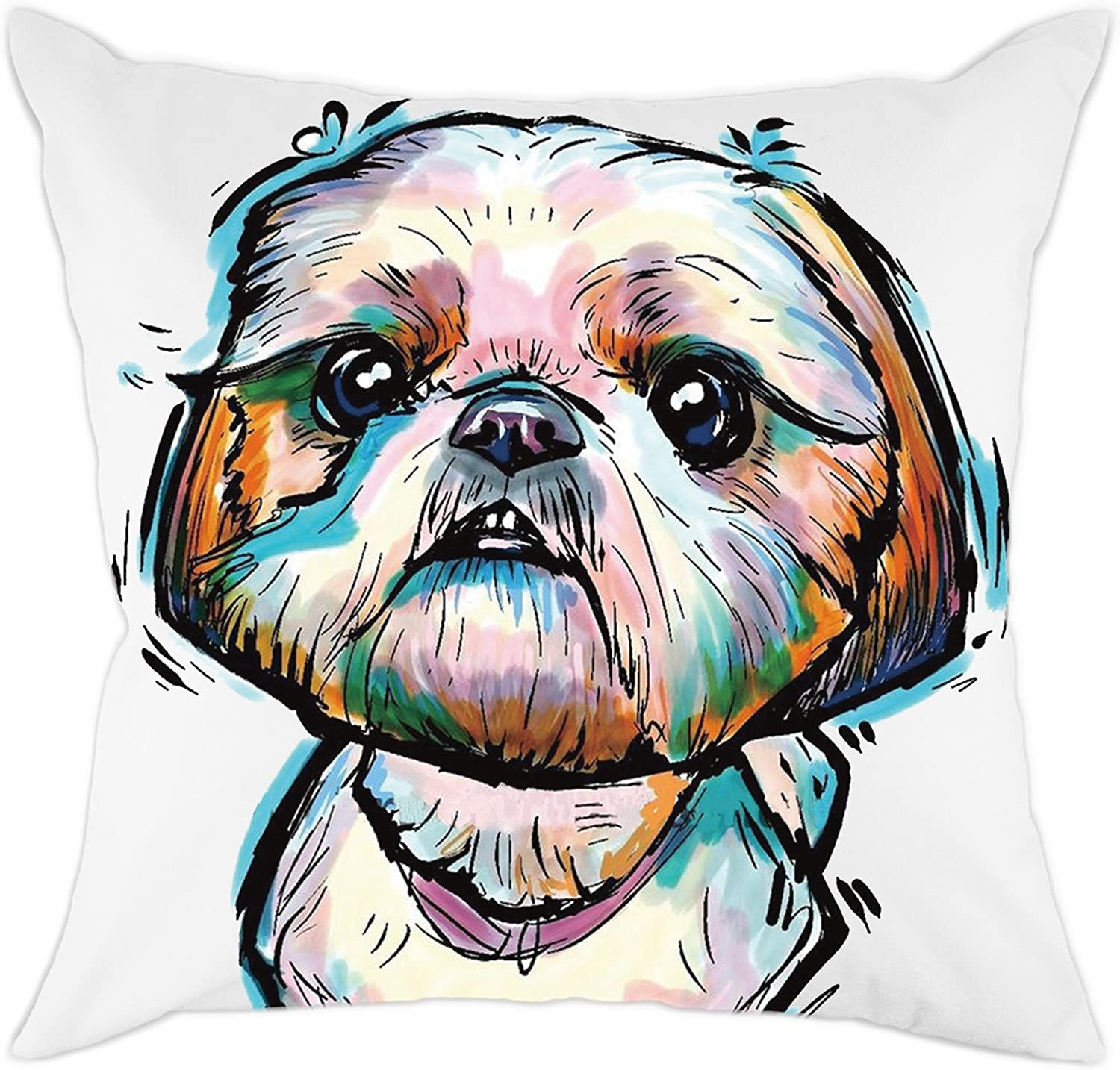 Redland Art Cute Pet Shih Tzu Dogs Pattern Cotton Polyester Throw Pillow Covers Cushion Cases Home Decor Square 18