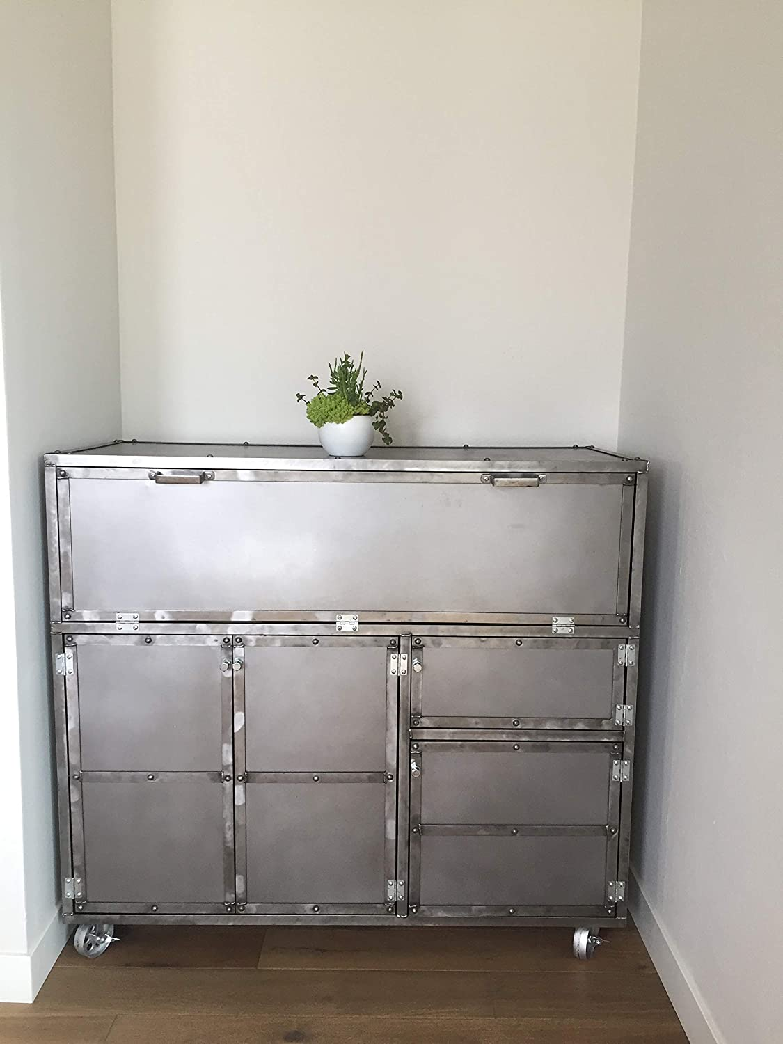 Modern Storage Cabinet. Custom Kitchen Pantry. Polished Steel. Mobile Liquor  Cabinet, Bar Cart: Handmade