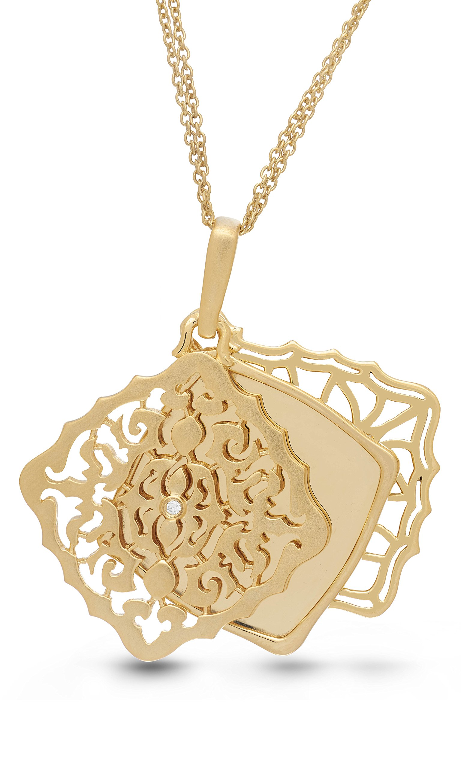 With You Lockets Yellow Gold-Diamond-Square-Custom Photo Locket Necklace-22-inch chain-The Mimi by by With You Lockets (Image #2)
