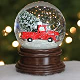 Vintage Red Pick Up Truck Tree 5 Inch Resin Holiday Water Snow Globe