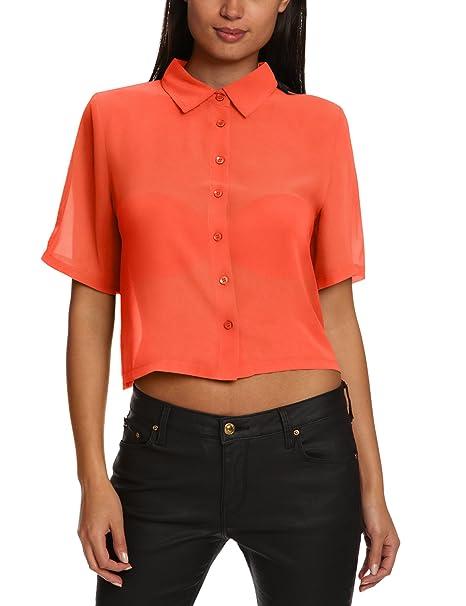 Glamorous Blusa con cuello de polo para mujer, talla XS, color rojo