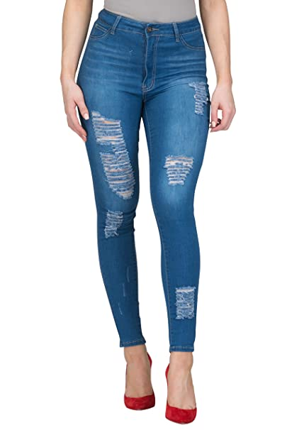 High Rise-Waisted Women Distressed Ripped Stretchy Skinny Butt Lift Jeans Plus Size (BLUE-137, M) best high-waisted jeans
