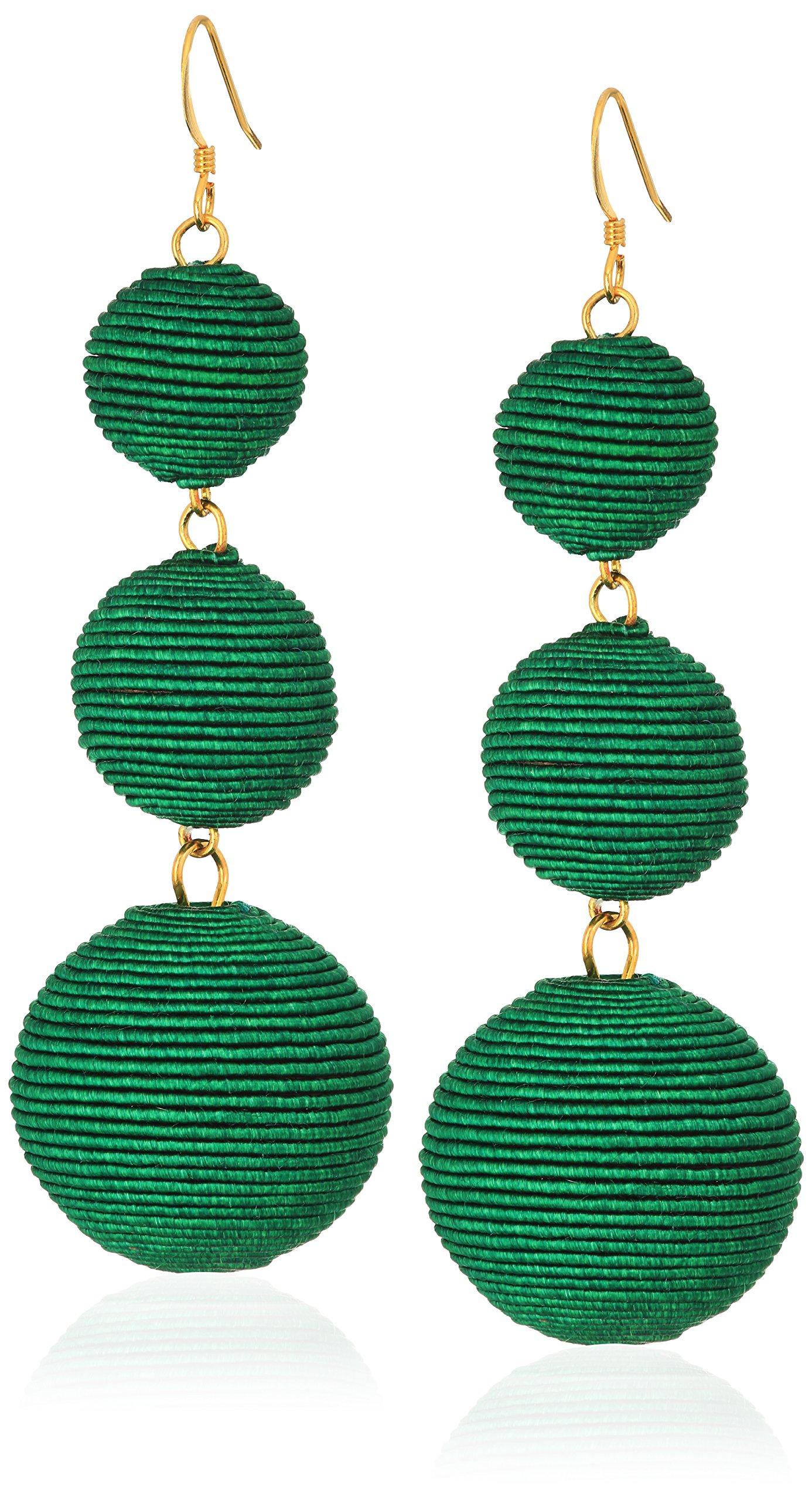 Kenneth Jay Lane Green Thread Ball Drop Earrings