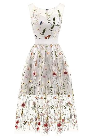 Erosebridal Knöchellangen Abendkleid Lange Blumen Stickerei Tüll ...