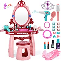 OCATO Kids Toy Vanity Table for Little Girls, Toddler Vanity Set with Mirror, Stool, Sound, Light & Beauty Accessories…