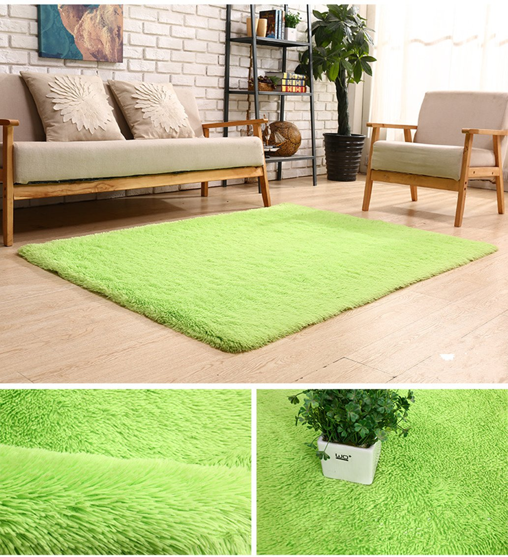 BlueSnail Super Ultra Soft Modern Shag Area Rugs, 4' x 5', Bedroom Livingroom Sittingroom Floor Rug Carpet Blanket for Children Play Home Decorate (4' x 5', Apple Green)