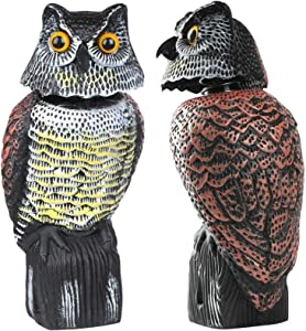 Mekiyo Fake Owl Decoy 360 Rotate Head, Scarecrow Owl Decoy Statue Realistic Scary Sounds & Shadow Outdoor for Patio Yard Garden (one Size, Head Rotation)