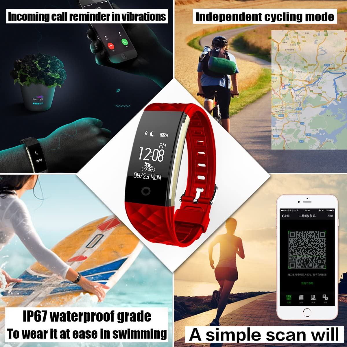 Amazon.com: eoocoo pulsera inteligente, Heart Rate Monitor y ...