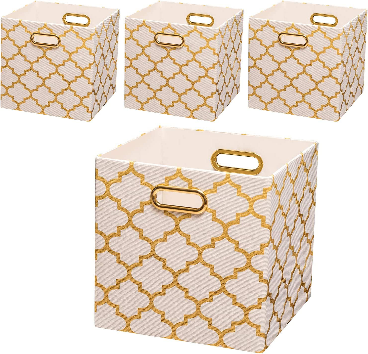 Posprica Collapsible Storage Bins,11×11 Fabric Storage Baskets, 4pcs,White-Gold Lantern