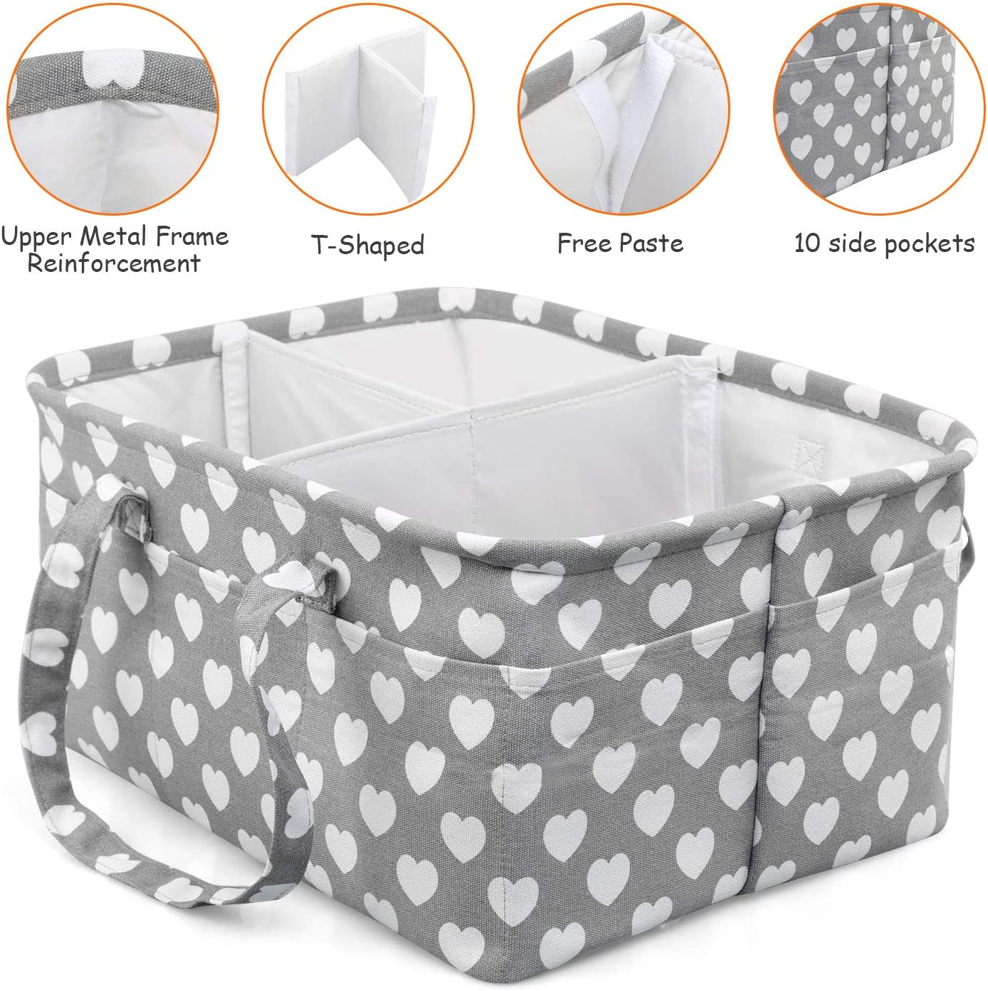 NEWSTYLE Baby Diaper Caddy Organizer Nursery Storage Bin and Car Organizer Cotton Canvas Portable Diaper Storage Basket with Removable Dividers and 10 External Pockets for Diapers and Baby Wipes
