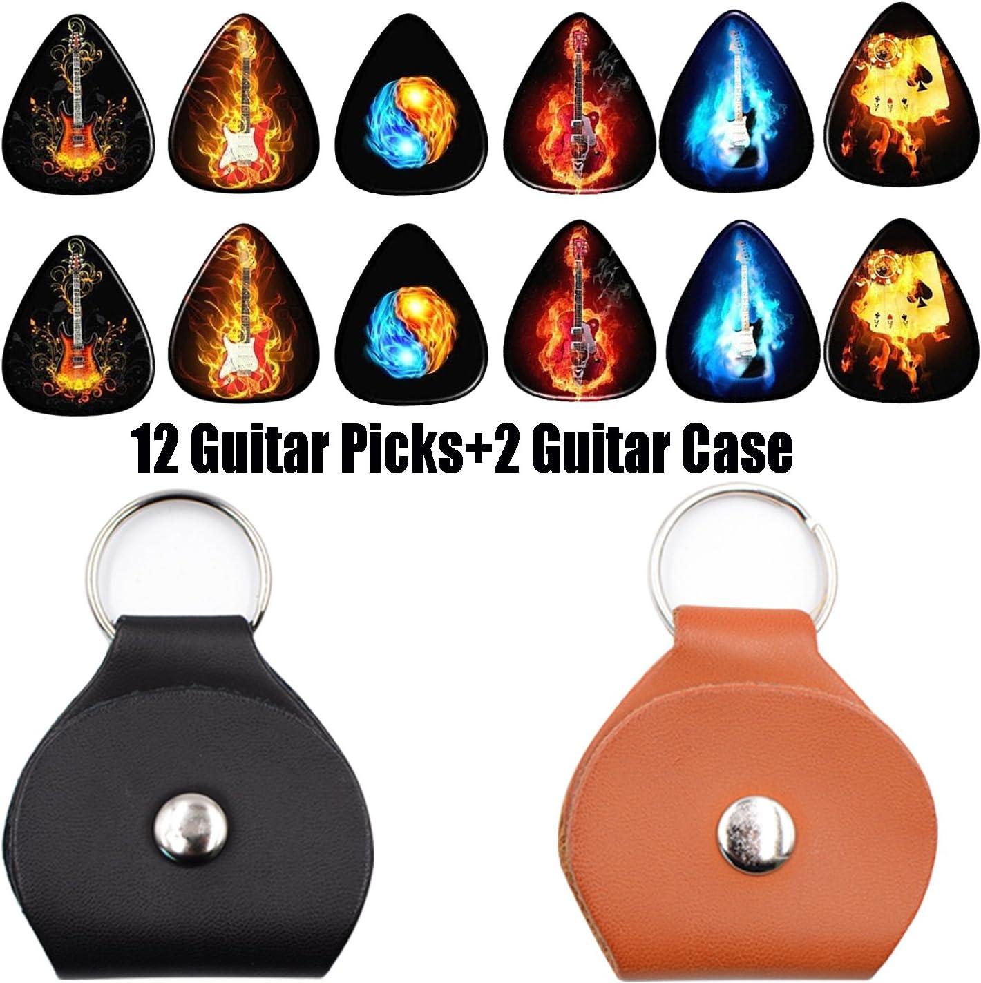 Guitar Picks 0.46 mm 12 Pack,2 Pack Picks Holder Case - Leather(Flame guitar Series)