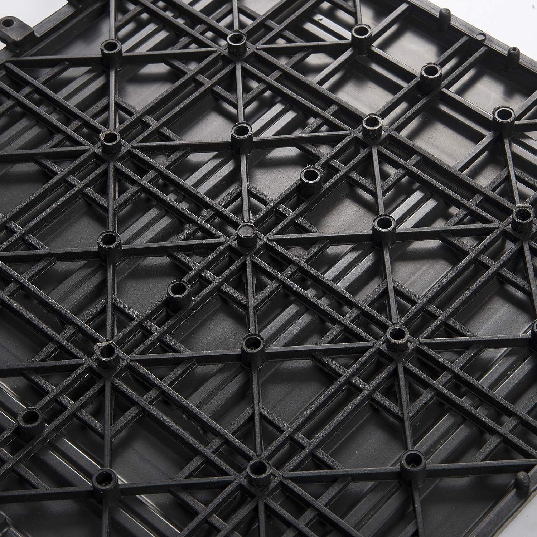 EUGAD 22pcs DIY Piastrella per Pavimento da giardino Terrazza Pavimento ad Incastro per Casa Pavimentazione in WPC 30x30cm Antracite 0011DB-2