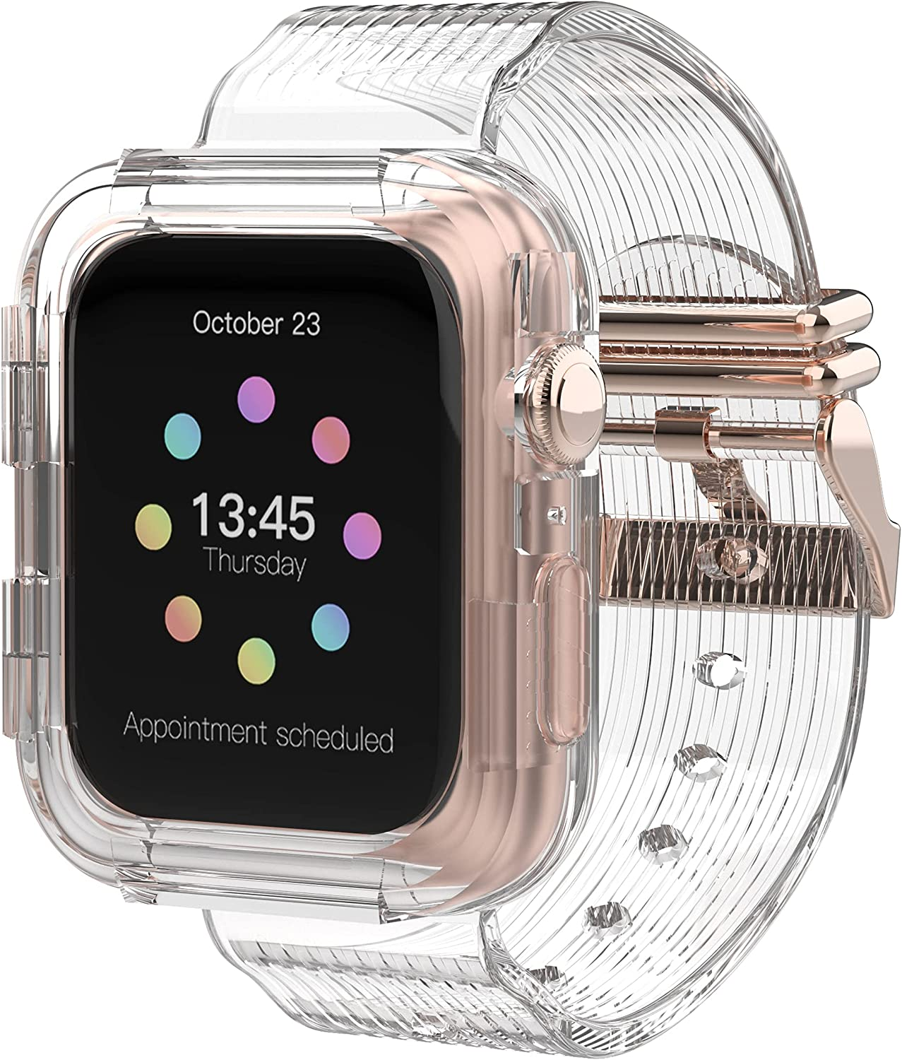 DamonLight Clear Bands for Apple Watch with Rose Gold Buckle Bumper Case, Men Bands for iWatch Series 6 5 4 3 2 1 SE, Sport Military Protective Cases Protector Shockproof