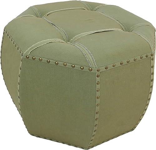 International Caravan Furniture Piece Rustic Elegance 27-Inch Octagonal Sage Button Tuffed Ottoman