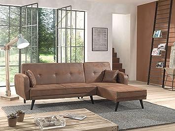 Bestmobilier   Folke Vintage   Canapé Du0027angle Réversible Convertible    Style Scandinave Rétro