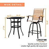 LOKATSE HOME 3 Piece Outdoor Patio Bistro Set Bar