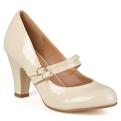 f909090d8185 Journee Collection Womens Mary Jane Faux Leather Pumps Beige