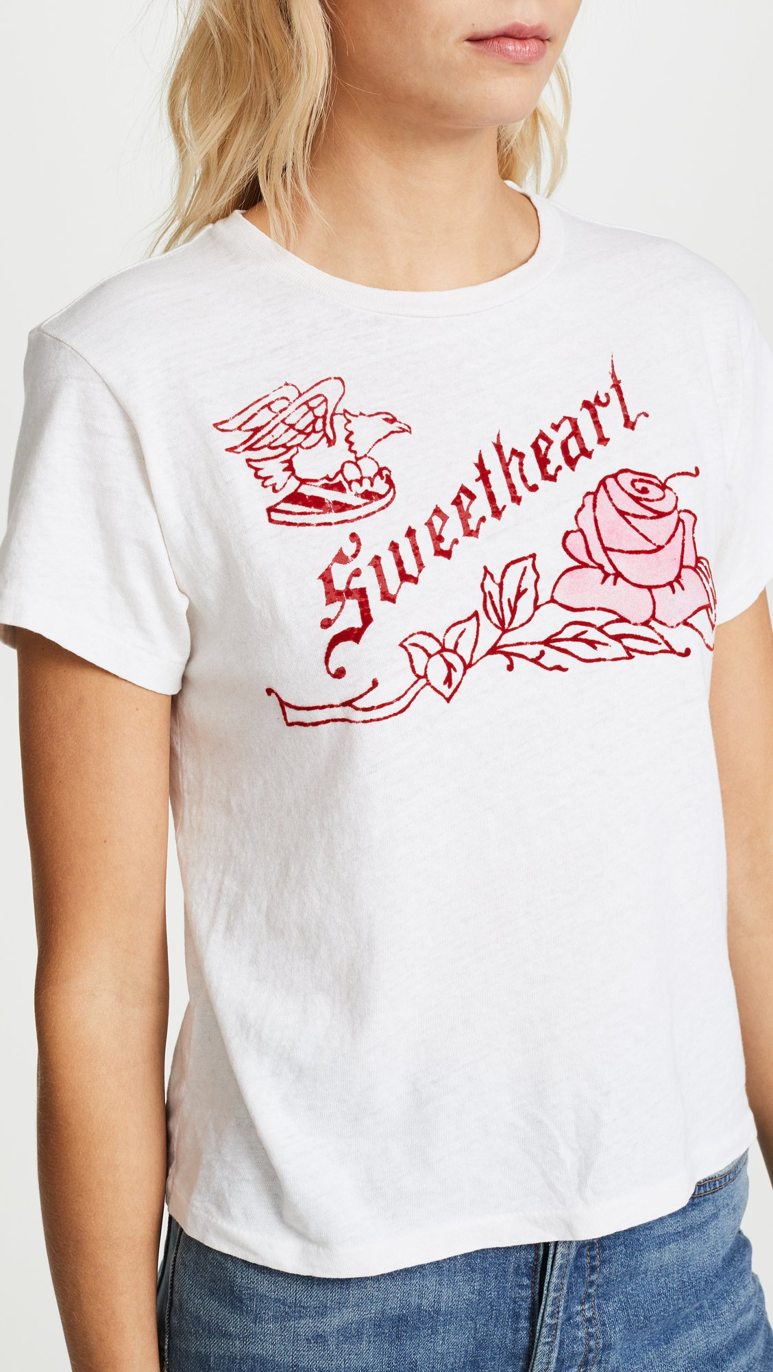 RE/DONE Women's Classic Sweetheart Tee, Vintage White, Medium by RE/DONE (Image #6)