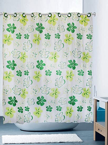 YUMIKO Hookless Shower Curtain Clover Green White Yellow Pattern Extra Long Design For Bathroom Without Hooks