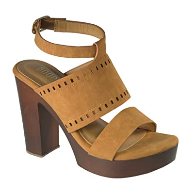 Angelina Women's Multi Strap Vegan Leather Sandal w/Chunky Faux Wooden Heel