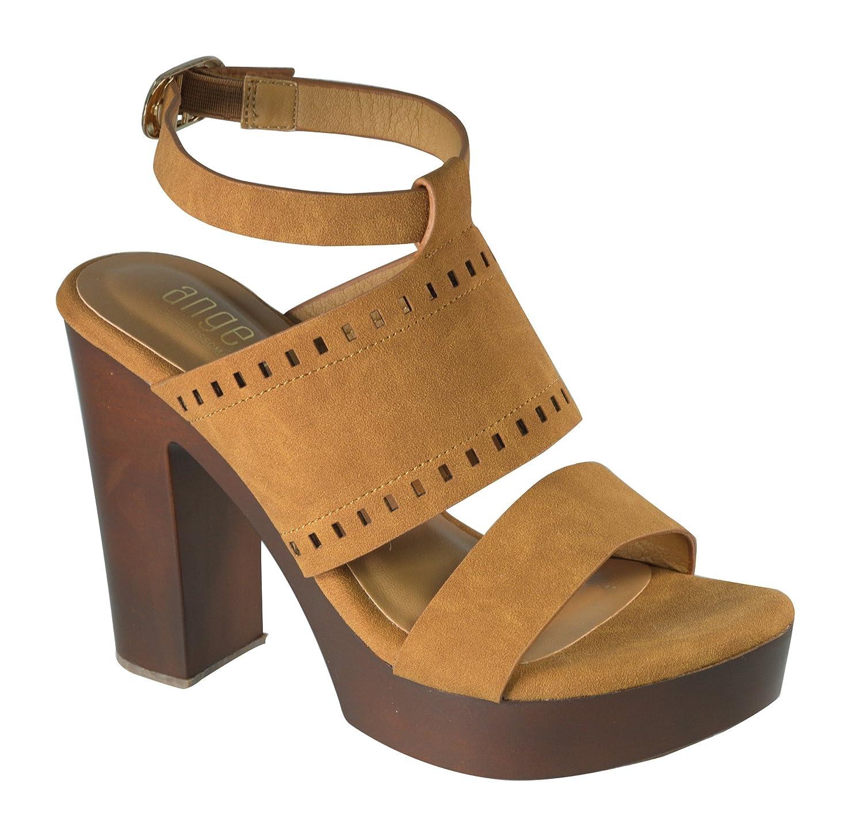 Angelina Women's Multi Strap Vegan Leather Sandal w/Chunky Faux Wooden Heel