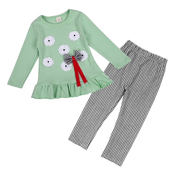 688291a9f4b30 Chic-Chic 2pcs Baby Girl Kids Clothing Set Long Sleeve Bowknot Flower  T-Shirt Top + Pants Trousers Leggings Outfit: Amazon.co.uk: Clothing