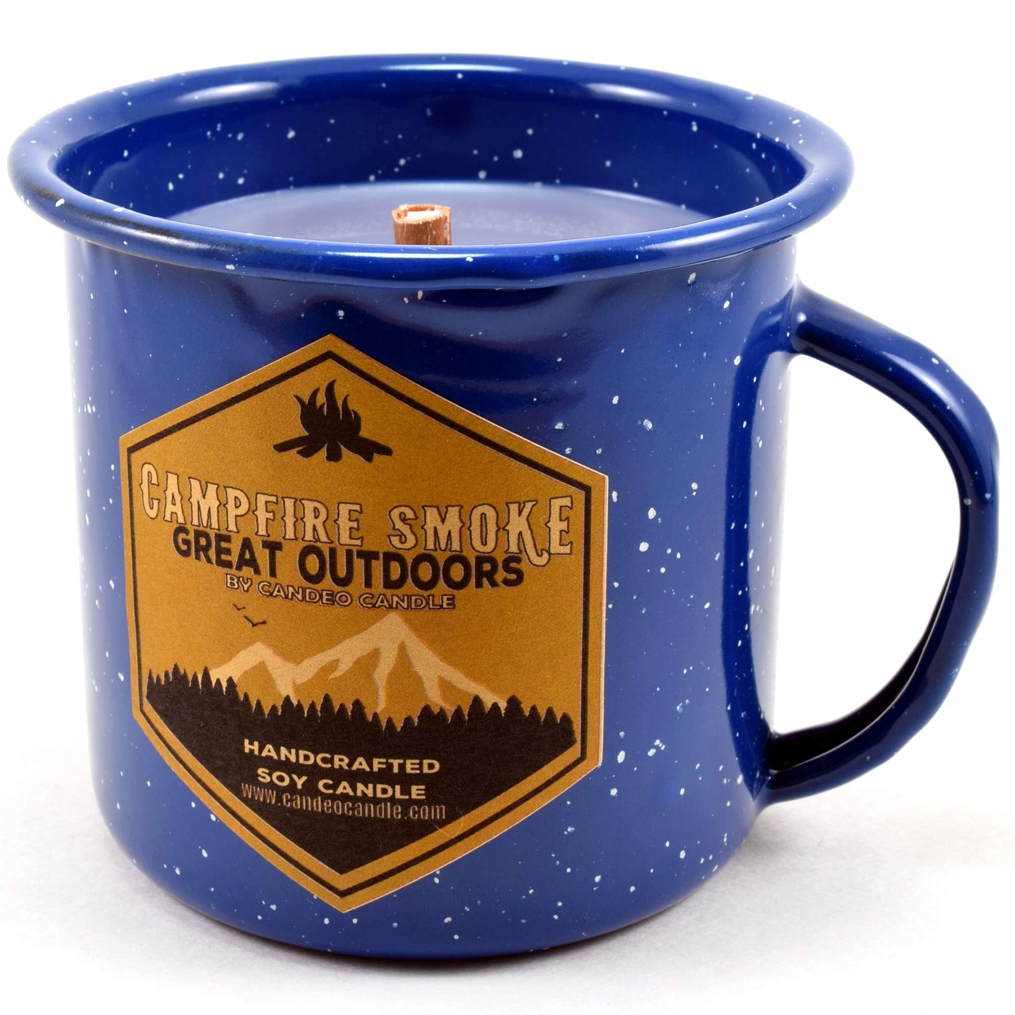 Campfire Smoke Wood Wick Soy Candle in an Enamel Camping Mug, 10 oz