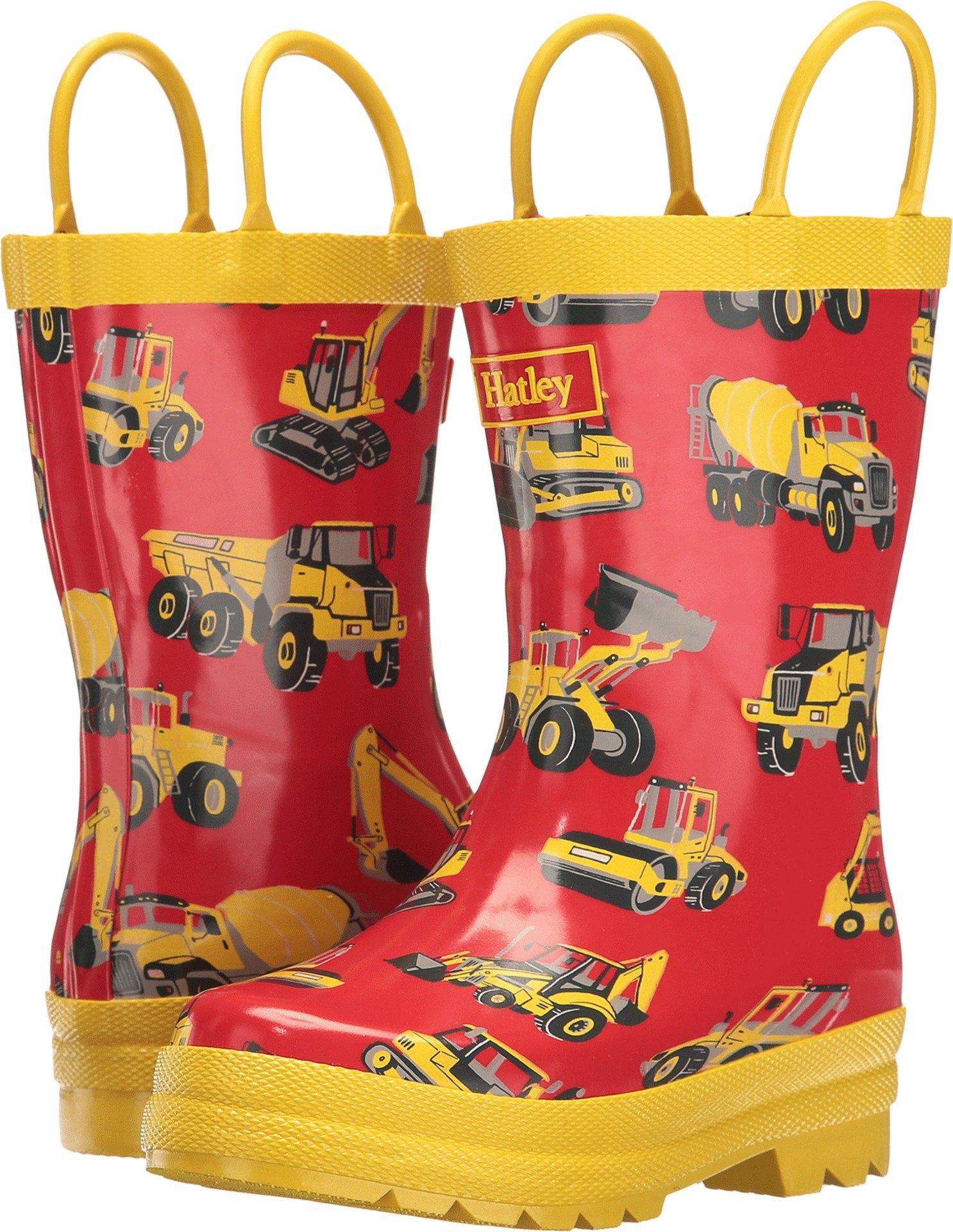 Hatley Boys' Printed Rain Boots, Heavy Duty Machines, 8 M US Little Kid